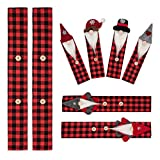 D-FantiX Gnome Christmas Refrigerator Handle Covers Set of 8, Plaid Swedish Tomte Kitchen Appliance Handle Covers Microwave Oven Dishwasher Fridge Door Handle Covers Protector Christmas Decorations