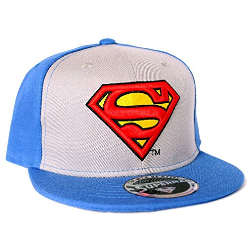 Superman Casquette snapback avec logo classique Bleu/gris