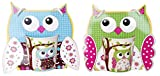 DISOK Lote de 4 Tazas Búhos en Caja de Regalo, Cerámica, Multicolor, 8x8x8.5 cm