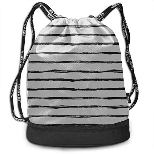 Best Backpack Horizontal Stripes Simple Casual Gym Drawstring Bags Backpack Sports String Bundle Backpack For Sport With Shoe Pocket Gym Toiletry Bag For Women