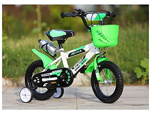 BERJMA Biciclette per Bambini, 12-14-16-14 Pollici Ad Alta E Bassa Marcia, Ragazzi di 3-6 Anni E Ragazze per Bambini in Mountain Bike per Bambini, Cassaforte E Ferma Bike green-12inch