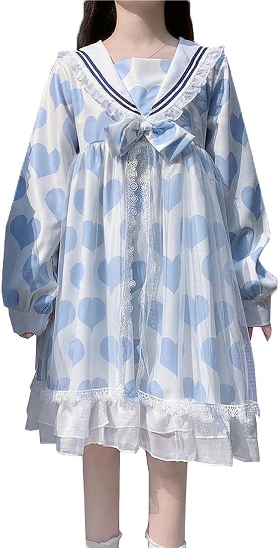 KUFEIUP Girls Sweet Lolita Dress Max 69% OFF Collar School Uni Bowtie Sailor Ranking TOP2