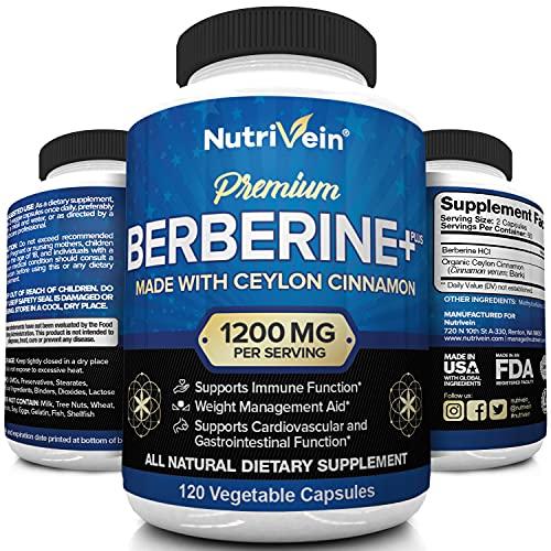 Nutrivein Premium Berberine HCL 1200mg Plus Organic Ceylon Cinnamon - 120 Capsules - Supports Insulin, Glucose Metabolism, Immune System, Blood Sugar, Weight Management - Berberine HCI Supplement