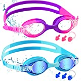 COOLOO Kids Swimming Goggles, 2 Pack Swim Goggles with Adjustable Strap for 6-14 Girls and Boys, Childrens Goggles with No Leaking Anti-Fog Lens and UV Protection