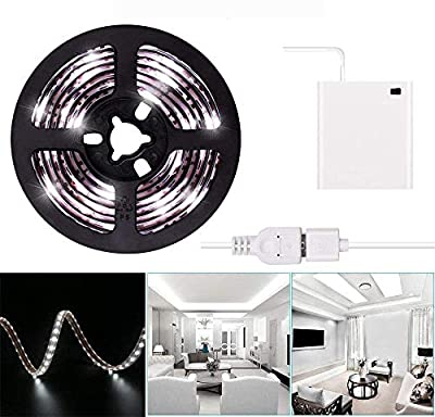 2m LED Strip Lights USB or Battery Powered Cool White USB LED Light Strip Kit 6.6FT Waterproof Super Bright LED Tape Light