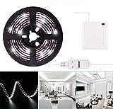 Luces de tira LED de 2m USB o batería Batería de cinta de luz LED blanca fría Batería 6.6FT Luz de cinta LED súper brillante a prueba de agua