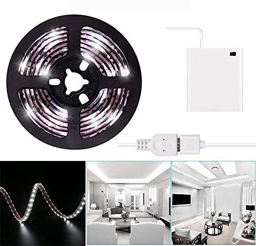 2m LED Strip Lights Kit de bande de ruban lumineux à ruban blanc froid alimenté par piles ou par blanc froid 6.6FT Lumière de ruban à DEL super lumineux imperméable