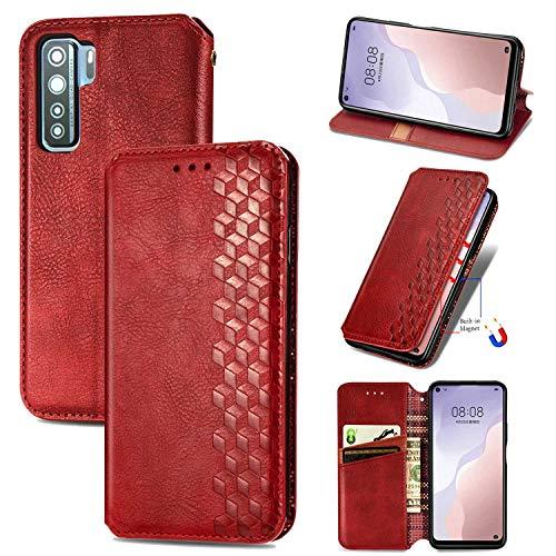 Bear Village Hülle für Huawei P40 Lite 5G / Nova 7 SE, PU Leder Flip Handyhülle für Huawei P40 Lite 5G / Nova 7 SE, Brieftasche Schutzhülle mit Standfunktion & Kartenfächer, Rot