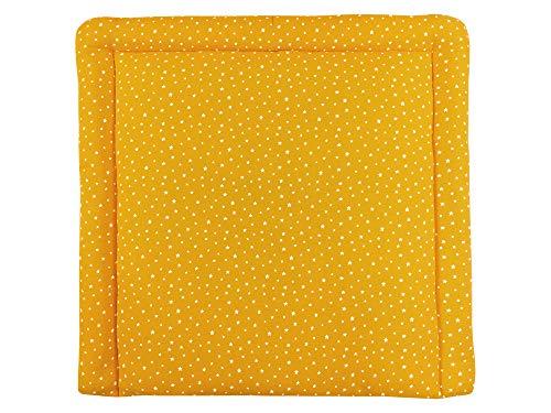 mini Fifia Kinder Baby Wickelauflage 60 x 70 cm kleine weiß Sterne auf Musselin gelb mustard