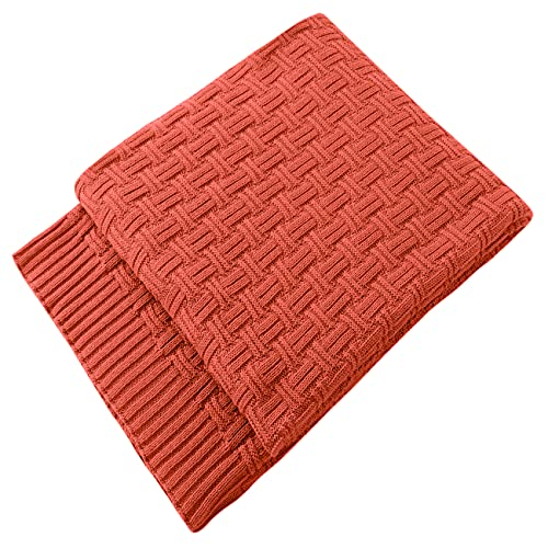 TREELY 100% Cotton Knitted Throw Blanket Couch Cover Blanket(60 x 80 Inches, Rust)