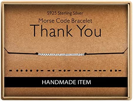Birthday Gifts for Friends Morse Code Thank You Bracelet 925 Sterling Silver Handmade Bead Adjustable product image