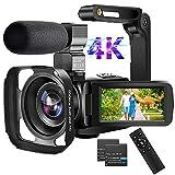 WiFi Videocámara Camara de Video 4K 56MP Videocámara con Micrófono 18X Zoom Digital Cámara de Video Pantalla Táctil de 3.0' Videocamara con Control Remoto, Stabilizzatore Manuale