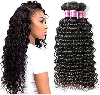 Brazilian Deep Wave Virgin Hair 4 Bundles 100% Unprocessed Human Hair Extensions Curly Wave Bundles Wet and Wavy Human Hair Deep Wave Bundles Big Sale Brazilian Virgin Hair Human Hair Weave Bundles