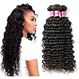 Perstar Deep Wave Human Hair Bundles Curly Wave Bundles Unprocessed Brazilian Virgin Hair Extensions 100% Real Human Hair Deep Wave 4 Bundles Good Quality Remy Virgin Hair Bundles Natural Wavy