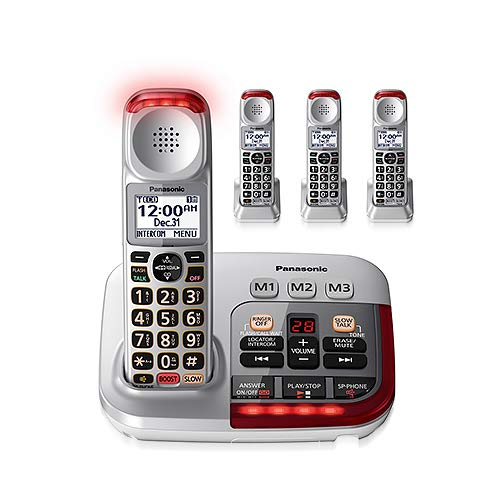Panasonic KX-TGM450S + (3) KX-TGMA45S Amplified with Digital Answering Machine Slow Talk Control Talking Caller ID Cordless Phone- 4 Handset
