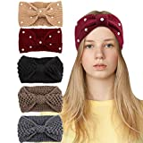 Casoty 5 Pieces Crochet Turban Headband Pearl Bow Headband Knitted Knotted Headbands Winter Braided Headbands Ear Warmer Headband for Women