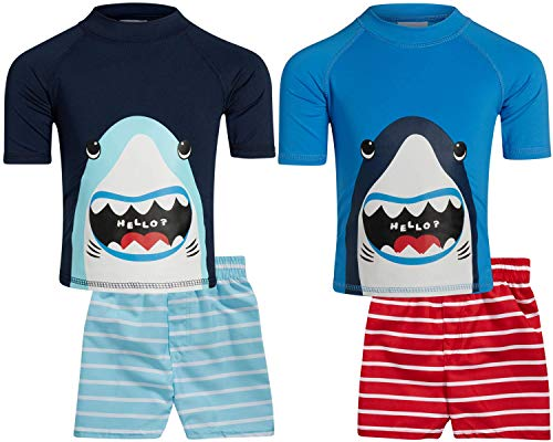 Sweet & Soft Boys UPF 50+ Boys Short Sleeve 4 Piece Rash Guard & Trunk Swimsuit Set (Infant/Toddler/Little Kid), Size 7, Big Shark