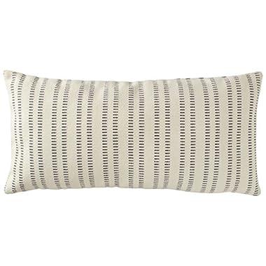 Stone & Beam French Laundry Stripe Pillow, 12  x 24 , Ivory, Grey