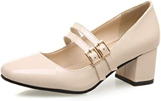 BalaMasa Womens Dress Buckle Solid Urethane Pumps Shoes APL10611