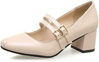 BalaMasa Womens Dress Buckle Solid Urethane Pumps Shoes APL10611