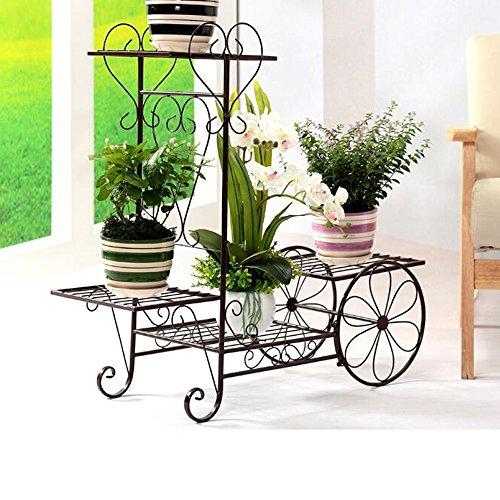 XIAOLIN- Racks à fleurs de style européen de fer avec salon à plusieurs étages Racks à fleurs de panier créatif (brun, blanc, noir) -Cadre de finition de fleurs (Couleur : Marron, taille : 65 * 70cm)