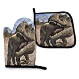 DUDBFGG Huge Dinosaur T Rex Oven Mitts and Potholders Kitchen Accessories, Heat Resistant Pot Holder Baking Gloves for Men Women