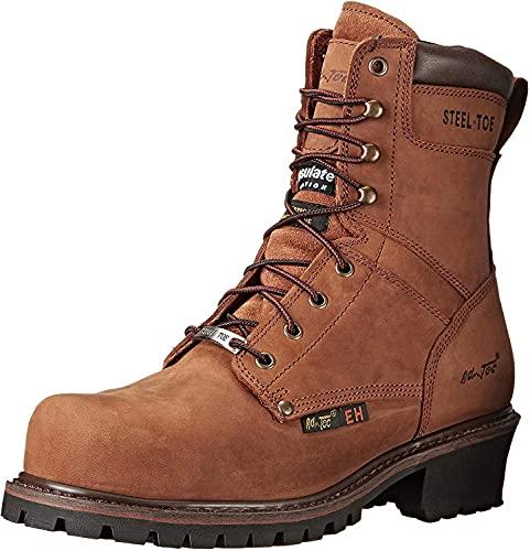Ad Tec Men's 9in Waterproof Super Logger Crazy Horse Leather Certified Work Boots, Brown - Broad Steel Toe, Electrical Hazard Sole