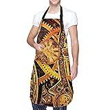 Osmykqe Steampunk Gears Delantal con Peto para Hombre y Mujer con Bolsillo y Corbatas Ajustables, Delantal de Chef de Cocina Dragon King Delantal de Cocina para cocinar, Hornear, CR