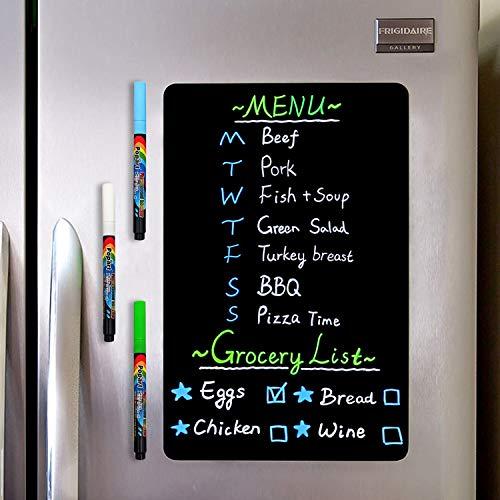 CUHIOY Magnetisches Whiteboard- Kühlschrank Magnettafel für Schwarz-Schreibtafel- Familie Menü Wochenplaner, Einkaufsliste, Memo Notiz, Graffiti abwischbar Magnet White Board, 4 Kreidemarker 1Radierer