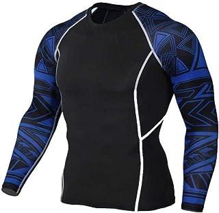 Black Compression Top Mens Dri Fit Long Sleeve Fitness Tee Shirts