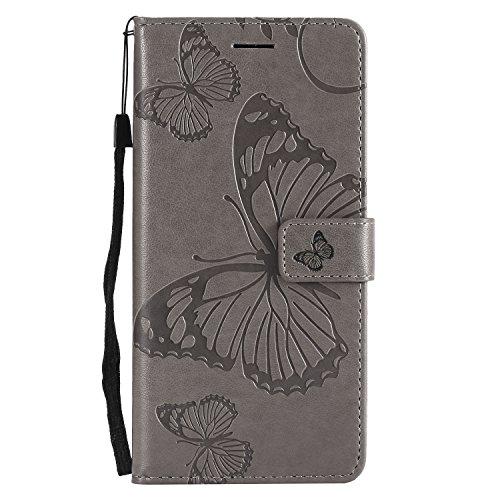 Jeewi Hülle für OnePlus 6 Hülle Handyhülle [Standfunktion] [Kartenfach] [Magnetverschluss] Tasche Etui Schutzhülle lederhülle klapphülle für OnePlus6 - JEKT042010 Grau