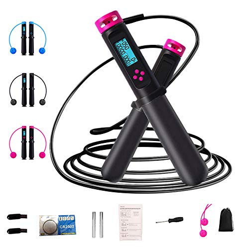 Cordless Jump Rope, UPKNOW Heavy Skipping Rope with Calorie Counter /Timer /Number for Fitness Exercises Kids Adult, Pink