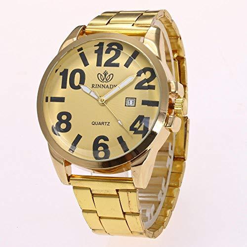 Powzz ornament Armbanduhren Mode Uhren Mode Uhren Classic Digitalen Kalender Alu-Stahlgürtel @Gold