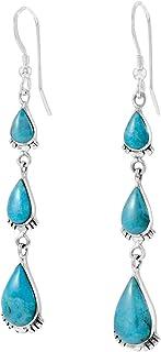 Details about  /Turquoise Gemstone 925 Silver Ear Hook Dangle Drop Earrings Women Jewelry P632
