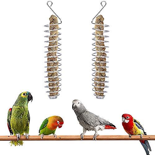 2 Stück Obst und Gemüsehalter für Vögel, Edelstahl Papagei Vögel Essen Korb, Vogelfutter-Spirale, Frucht-/Gemüse-Spieß für Papageien, Wellensittiche, Sittiche, Nymphensittiche