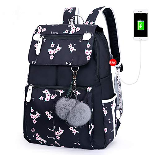 Versión coreana impresa de gran capacidad estudiante escuela secundaria bolsa de computadora mochila de ocio mochila Cherry Blossom Negro 16'