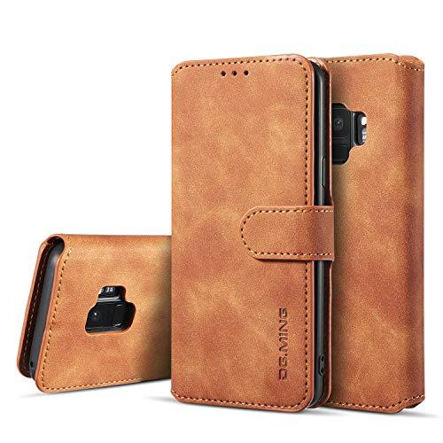 「Doo」Samsung Galaxy S9 ケース手帳型 レザーケース カード入れ 収納便利全面保護 耐摩擦 カードホルダー付き 保護ケース 高級PUレンギャラクシーS9 横開き 札入れフリップ - ブラウン