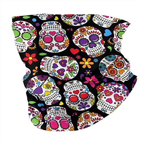 Dead Sugar Skull Neck Gaiter Face Mask Reusable, Cloth Face Scarfs Washable Bandana Face Mask Balaclava Shield