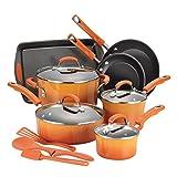 Rachael Ray Classic Brights Hard Enamel Nonstick 14-Piece Cookware Set, Orange Gradient