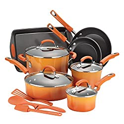 Rachael Ray Classic Brights Hard Enamel Nonstick 14-Piece Cookware Set, Orange Gradient review