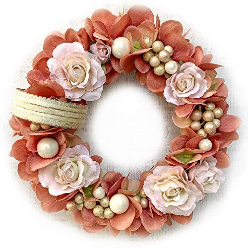 Lulu's ルルズ 紫陽花とバラのロマンティックなリース アンティークカラーのリース アーティシャルフラワー 直径約18�p×高さ5�p お祝い プレゼント クリスマス 紫陽花とバラのロマンティックなリース Lulu's-1573