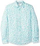Amazon Essentials - Camisa de lino con manga larga, corte entallado y estampado para hombre, Aqua Leaf Print, US M (EU M)