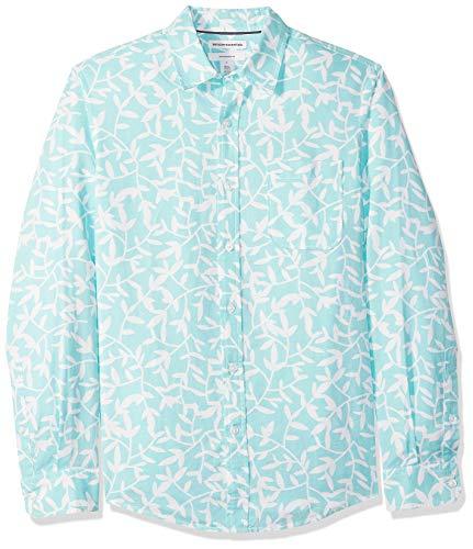 Amazon Essentials - Camisa de lino con manga larga, corte entallado y estampado para hombre, Aqua Leaf Print, US XXL (EU XXXL - 4XL)