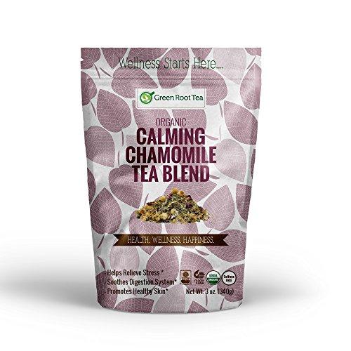 Calming Chamomile Tea - Organic Herbal Nighttime Loose Leaf Tea - Infuser Included - Green Root Tea (2 OZ. Bag)