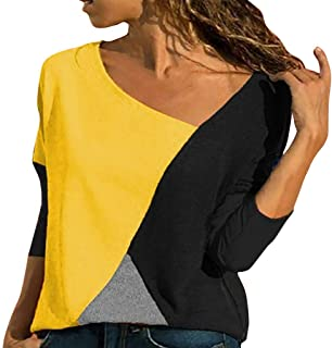 Color Block Shirts for Women, Long Sleeves T Shirt Casual Blouses Womens Tops Plus Size S - 3XL