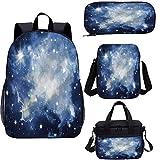 Constellation Juego de mochila escolar y bolsa de almuerzo de 15 pulgadas, azul galaxias 4 en 1 conjunto de mochila