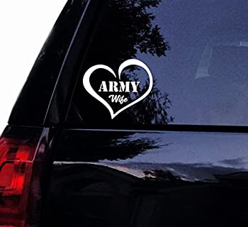 Army Wife Love Decal Sticker - Military Wife Heart Soldier Vinyl Car Decal Laptop Decal Car Window Wall Sticker  4  White