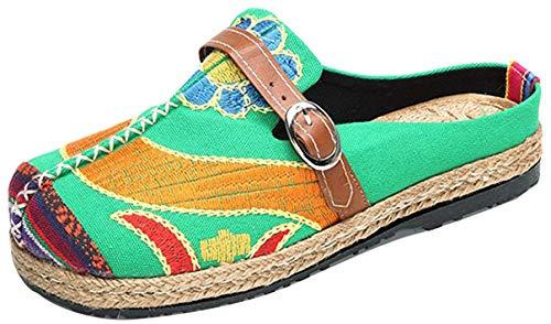 Tezoo Tezoo Pantoletten, Damen Sommer Slipper Espadrilles Hausschuhe Flache Schuhe Aus Leinen Bestickte Bunte Schuhe Traditioneller Peking-Stil (39, Grün)