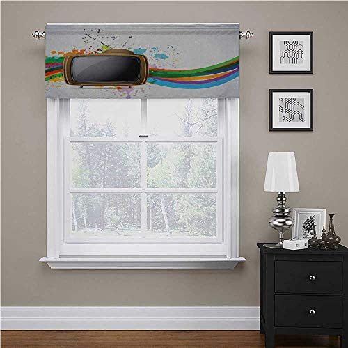 Valance Curtain Old Television with Colorful Wavy Lines Color Splashes Media Communication Energy Saving Window Curtain Valance Perfect for the Bathroom and Budget Friendly Multicolor 56 x 16 Inch