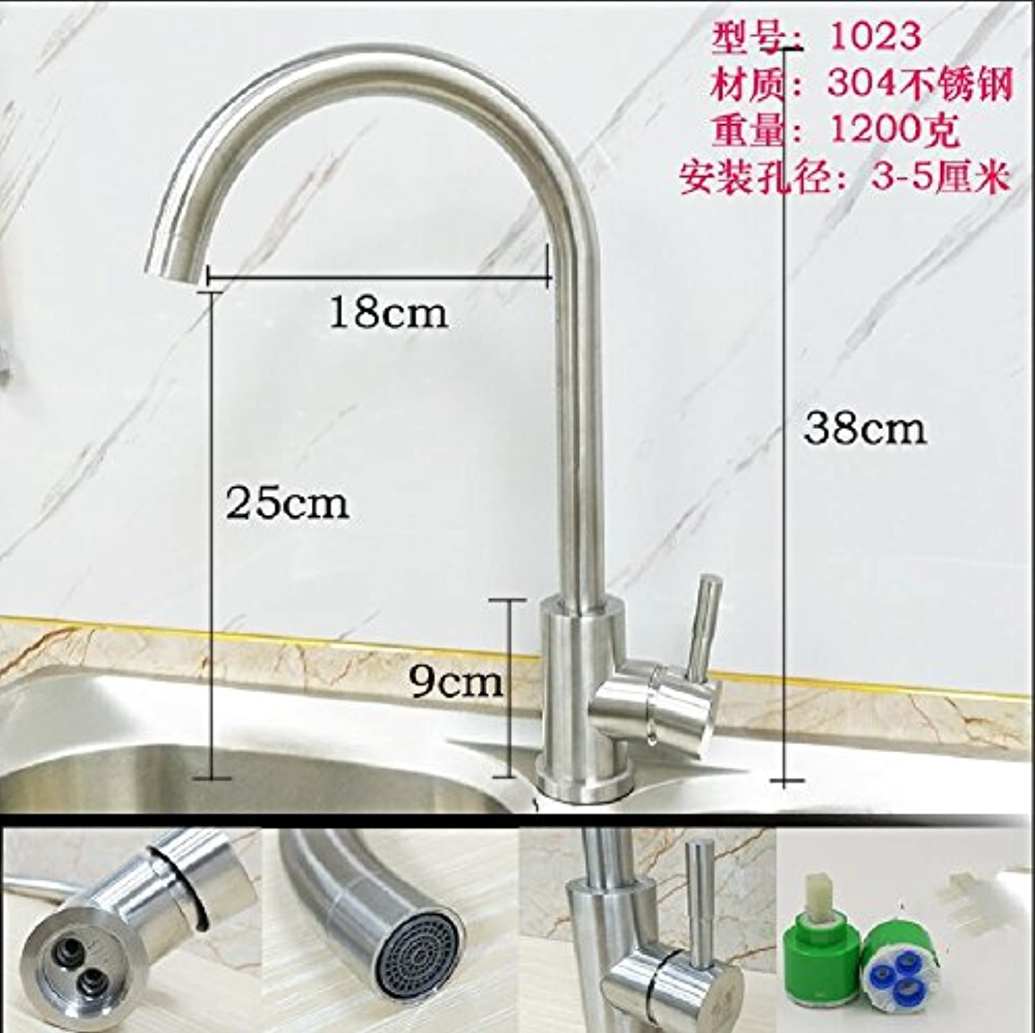JWLT 304 stainless steel faucet, single cold kitchen washing basin, sink, sink bowl, wire drawing lead free swivel tap,1023 a pair of cold and hot -304 60cm tubes